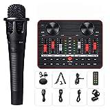 Conjunto de mezclador compacto profesional, conjunto de convertidor de voz de tarjeta de sonido, conjunto de tarjeta de sonido 12 tipos de efectos de sonido Aleación de zinc Micrófono Karaoke-A