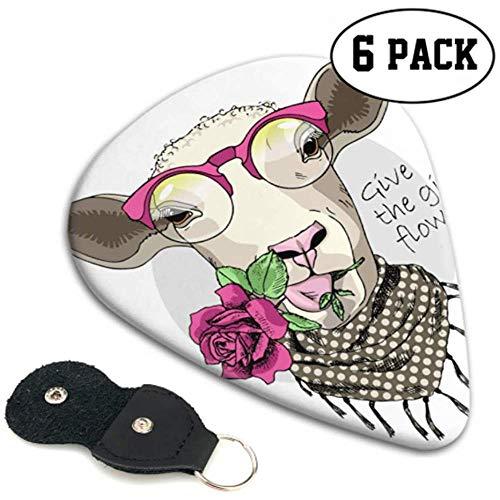 Schapen Roze Bril Rose Sjaal Aangepaste Gitaar Pick Gitaar Pick Up Kit 6 Pack Zware Elektrische Akoestische Gitaren