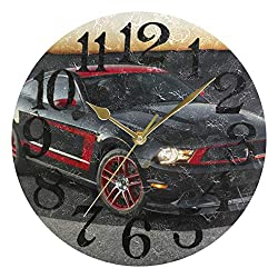 NALLER Non Ticking Personality Gold Pointer for Office Bedroom Kitchen Living Room Home 10x10 Inches Ford Mustang Sports Car Round Silent Wall Clock Decoration