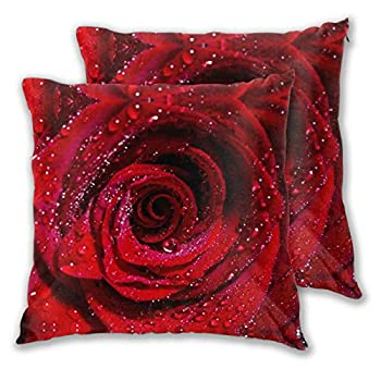 MIXCDER Red Rose Throw Pillow Covers Set of 2 Home Decorative Cushion Case Square 18x18 Inch