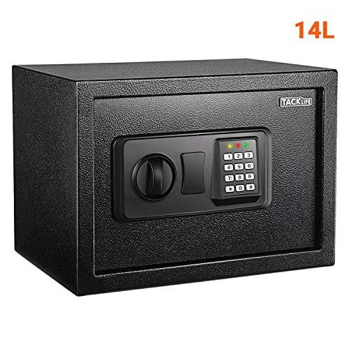 TACKLIFE - 14L Caja Fuerte, con Cerradura Electrónica y