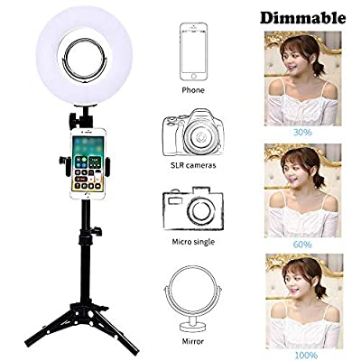"""8"""" Dimmable LED Selfie Ring Light with Stand,Makeup Mirror and Phone Holder,Camera Photo Video Lighting Kit,24W 5500K Video Tabletop Lights Lamps"""