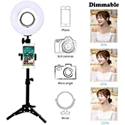 """Trumagine Dimmable LED Ring Light with Light Stand,Makeup Mirror and Phone Holder, Perfect Camera Photo Video Lighting Kit,8"""" 24W 5500K Video Tabletop Lights Lamps ..."""