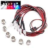 Kalevel 6 LED RC Car Truck Led Lights Kit for 1/10 1/8 1/12 for RC Car Trucks Plane (White+Red+Multicolored)