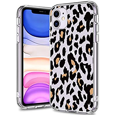 BICOL iPhone 11 Case Clear with Design for Girls Women,12ft Drop Tested,Military Grade Shockproof,Slip Resistant Slim Fit Protective Phone Case for Apple iPhone 11 6.1 inch 2019 Leopard Patterns