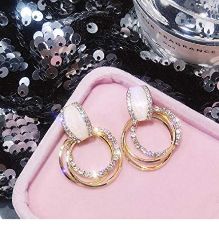 LEIXNDPLBO Design fashion hangende oorbellen geometrische ronde glanzende strass oorbellen dames sieraden, Goud