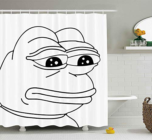 HiExotic Duschvorhang Whimsy Humor Decor Shower Curtain Sets Melancholic Frog Meme Cartoon Face Almost Crying Emotion Expression Design,Non-Toxic Waterproof Decor,Black White,60X72In