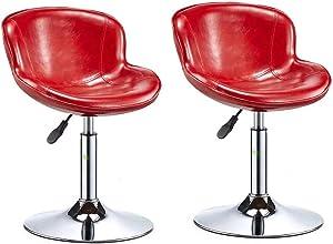 QQXX Barhocker Cafe Lounge Chair Massage Pneumatische Hydrolic Rollmassage Clinical Spa Tattoo Büro Drehhocker mit Rückenlehne, Schwarz (Farbe: Rot)
