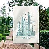 ALUONI Garden Flags, Philadelphia Skyline, Outline Monochrome Yard Holiday and Seasonal Decorative Flags Garden Outdoor Decorative - 12 x 18 in No26263
