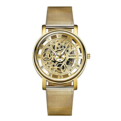 Mens Watches Luxury Fashion Casual Dress Quartz Wrist Watches for Men with Gold Face and Gold Watch Band (Gold)