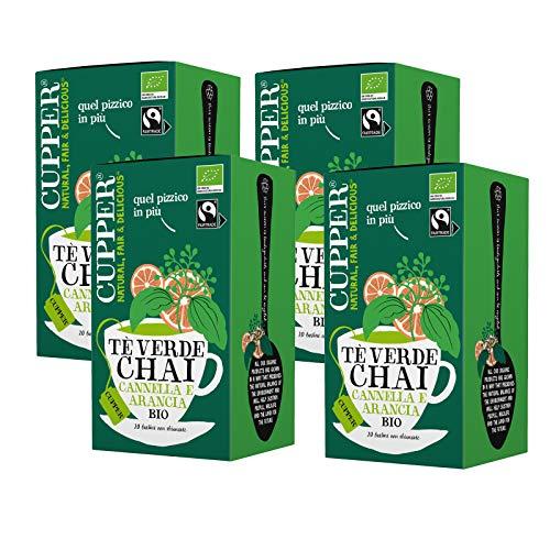 Tè Verde Chai Biologico Fairtrade Cupper (4 confezioni da 20 bustine di tè, totale 80 bustine di tè)