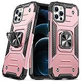 DASFOND Diseñado para iPhone 12 Pro MAX Funda, Funda Protectora para teléfono de Grado Militar con Soporte Mejorado [Soporte magnético] para iPhone 12 Pro MAX 6.7'', Oro Rosa