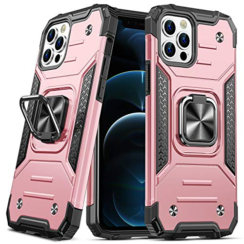 DASFOND Progettato per Custodia per iPhone 12/iPhone 12 PRO, Custodia Protettiva per Telefono di Grado Militare con cavalletto Migliorato [Supporto per Montaggio Magnetico], Oro Rosa