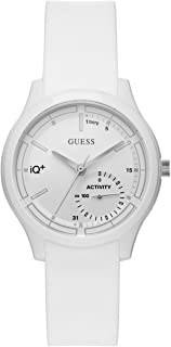 GUESS Women's Stainless Steel Connect Fitness Tracker Silicone Watch