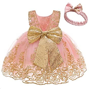 Baby Princess Girls Embroidery Dresses Toddler Lace Ruffles New Year Easter Tutu Dress with Headwear  Pink02,80