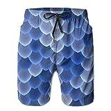 YUJINKANG Cool Blue Fish Scales Pantalones Cortos de Playa para Hombre, bañadores, Pantalones Casuales para Gimnasio, con Bolsillo
