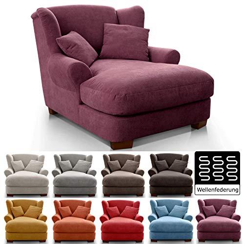 CAVADORE XXL-Sessel Oasis / Großer Polstersessel im modernen Design / Inkl. 2 schöne Zierkissen / 120 x 99 x 145 / Webstoff in chianti