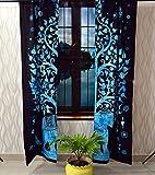 GDONLINE Turquoise Elephant Mandala Cotton Window Door Curtains Indian Mandala Curtains Decor Mandala Tapestry Elephant Under Tree Window Treatments Balcony Wall 2 Panels Set Room Decor Curtains