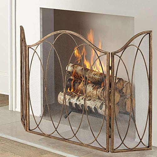 Affordable QAQA Wood Burning Stove Fire Place Screens, Gold 3-Panel Fireplace Screens with Folding P...
