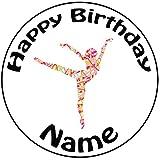 Personalisierter Gemusterte Ballerina Zuckerguss Kuchen Topper / Kuchendekoration - 20 cm Großer Kreis - Jeder Name Und Jedes Alter