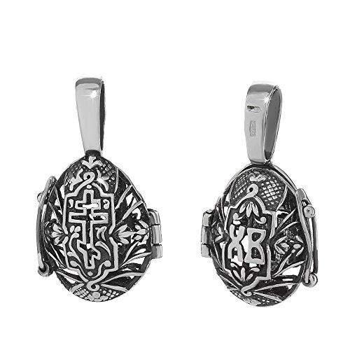 NKlaus Sterling Silber 925 Orthodoxe Anhänger Ostereier zum Öffnen Medallion neu 36246