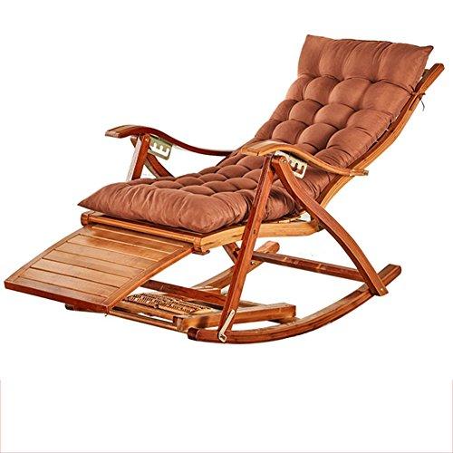 Fauteuil Inclinable En Bambou Chaise Longue Pliante En Bambou Naturel Design Ergonomique 170 ° Coussin Brun Réglable