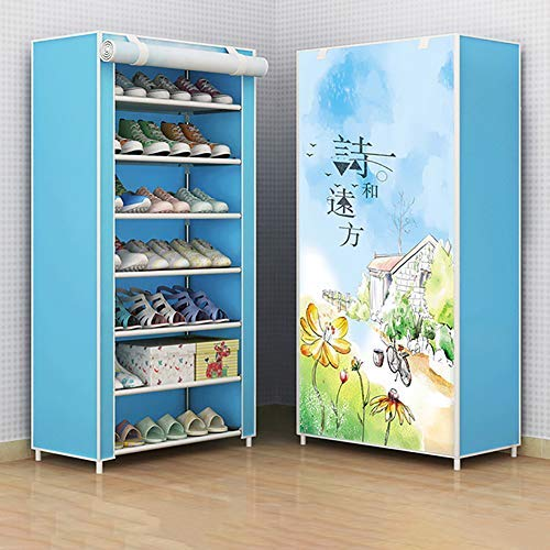 fuguzhu - Zapatero de 8 niveles con cubierta a prueba de polvo, tela no tejida para zapatos, capacidad para 21 pares de zapatos, en la sala de estar, pasillo, 60 x 125 x 30 cm (C)