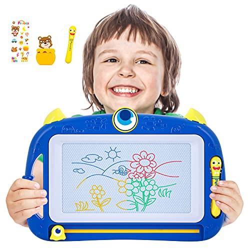 Peradix Lavagna Magnetica per Bambini,Tavoletta da Disegno Cancellabile 4 Colori Giocattoli Educativi,Cancellabile Magna Doodle per Bambini Porta Due Penne Regalo per Bambini, Portatile,Forma Animale
