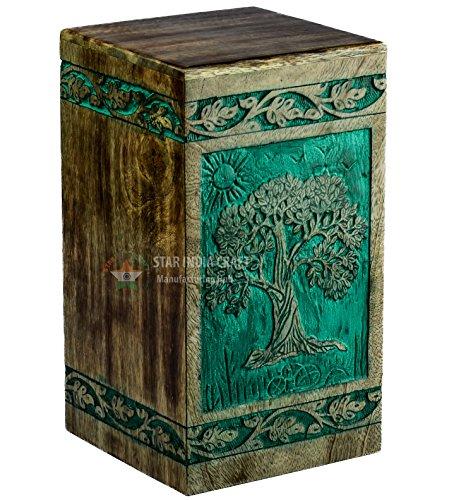 STAR INDIA CRAFT Urne funéraire en bois magnifiquement faite à la main et gravée arbre de vie pour les cendres humaines adultes, grande urne funéraire en bois pour la gravure, boîte en bois, 250 cu/in (populaire, 28,6 x 15,9 x 15,9 cm)