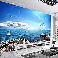 カスタム壁画壁紙青空白い雲カモメ海景テレビ背景写真リビングルームの寝室の家の装飾のための壁紙-400x300cm
