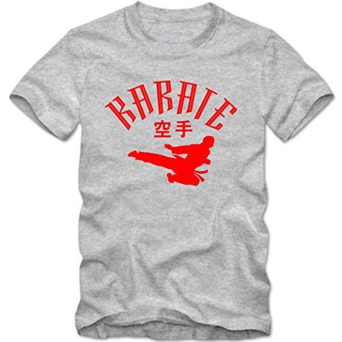 Kinder T-Shirt Karate Japan Shotokan Mixed Kampfsport Martial Arts Shirt Tee, Größe:7-8 Jahre (122-128cm), Farbe:Graumeliert/rot
