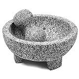 Set de mortero y Maja, Guacamole Bowl Molcajete, Molinillo de Piedra Natural para Especias, condimentos, pastas, pestos y Guacamole, Mejora el Sabor a la Comida