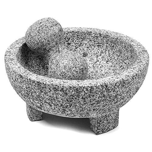 Set de mortero y Maja, Guacamole Bowl Molcajete, Molinillo de Piedra Natural para Especias, condimentos, pastas, pestos...