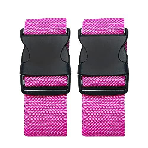 Paquete de 2 cinturones de maleta, correas ajustables para equipaje, correas de viaje de colores brillantes con hebilla de liberación rápida (rosa)