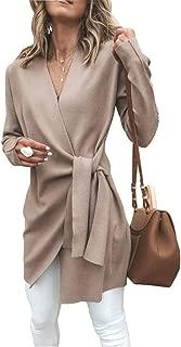 Women's Open Front Irregular Trench Coat Long Sleeve Raw Cut Hem Waterfall Collar Cardigan with Belt