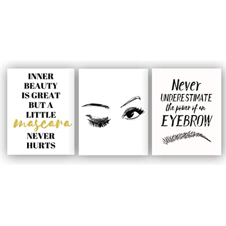 Makeup Beauty Quote Print Bedroom Dressing Room Decor Sign Poster Wall Art Brows