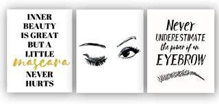 """Fashion Women Art Print Set of 3 (8""""X10"""" Makeup Art, Beautiful Eye Lashes,Eyebrow and Inspirational Phrases Quote for Makeup Lovers Gifts, Canvas Wall Art Poster for Girls Room Decor, No Frame"""