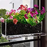 NIUXX 12 Inches Window Box Planter with Saucer, Garden Plant Flower Pot with Suction Stickers, Rectangle Kitchen Succulent Herb Pots Outdoor Indoor, Modern Floral Natural Centerpieces Home Decor