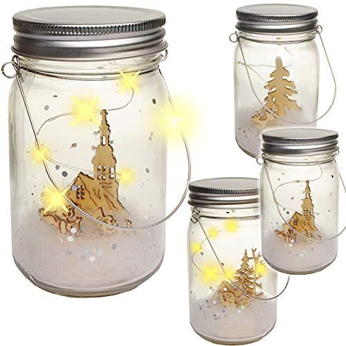alles-meine.de GmbH LICHT Dekoglas - 5 Stück LED - Weihnachten & Wintermotiv - mit Henkel - Leuchte im Einmachglas - Flasche - Weihnachtsflasche - Dekoflasche - Lichterflasche mi..