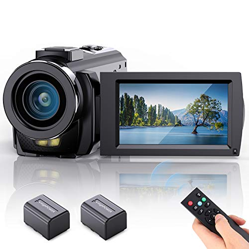 FamBrow Videokamera Camcorder Vlogging Kamera YouTube Full HD 1080P 24MP 30FPS 3,0 Zoll LCD 270 Grad drehbarer Bildschirm mit 2 Batterien