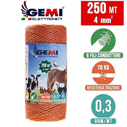 Gemi Elettronica Weidezaun Litze 250 MT 4 mm² für Elektrozaun für Tiere Pferde Hunde Eber Kühe Schweine Hühner