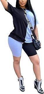 Womens Color Block Patchwork 2 Piece Outfits Short Sleeve Pullover Top High Waist Biker Pants Set Tracksuit Sweatsuit