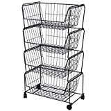 Pusdon Stackable Storage Metal Baskets, 4-Tier Anti-rust Fruit Vegetable Rack with Removable Wheels, Floor Standing & Countertop Dual Use, Kitchen Home Space Save Design Patent Approved Shelf, Black