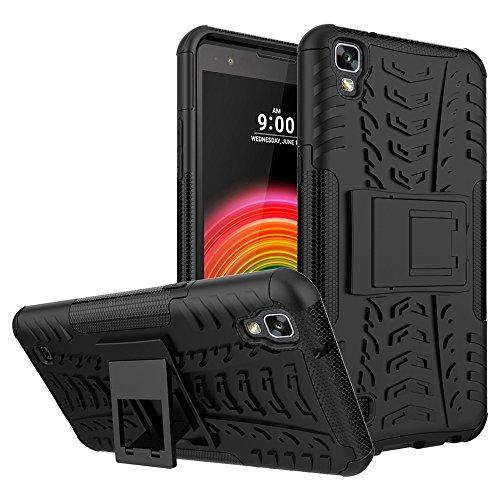 SCIMIN Capa para LG X Power à prova de choque, capa híbrida para LG X Power, proteção de camada dupla à prova de choque, capa rígida híbrida resistente com suporte para LG X Power de 5,3 polegadas (preto)