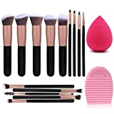 14 Pcs Makeup Brushes Premium Synthetic Foundation Powder Concealers Eye Shadows Makeup + Sponge powder puff + Scrubbing Egg