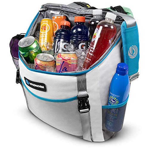 Insulated Cooler and Beach Bag - 24 Can, Large 26L Mesh Pocket, Collapsible Beach Tote by Wildhorn