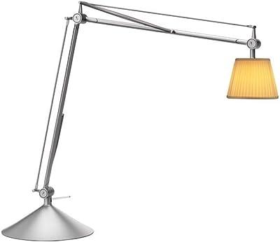 Archimoon F0375000 Lampe de bureau avec abat-jour en tissu plissé Fabrication en aluminium Ampoule G9 33 W Bras flexible 54 x 22,5 x 57 cm Gris