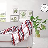 JUDYBRIDAL Christmas Chenille Plaid Blanket Throw Size, All Season Extra Soft Blanket with Decorative Tassel for Holiday, Home Decor, Everyday Use | 50' W x 60' L (Red/White)
