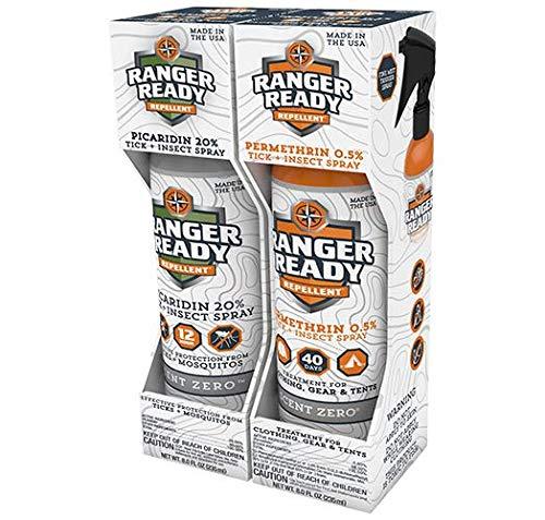 Ranger Ready P2Pak Permethrin + Picaridin Tick & Insect Repellent, Scent Zero, 8 Fl Oz. (Pack of 2)