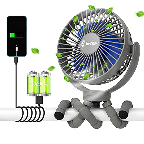 Portable Fan For Baby Stroller - Used as power bank ,50H 12000mAh Mini Cooling Small Bed Fan ,USB Rechargeable,Battery Operated Fan With Flexible Tripod, Fans Clip On Stroller/Car Seat/Bike(Gray)